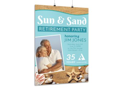 Beach Retirement Party Poster Template preview