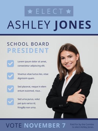 School Board Campaign Poster Template Preview 1