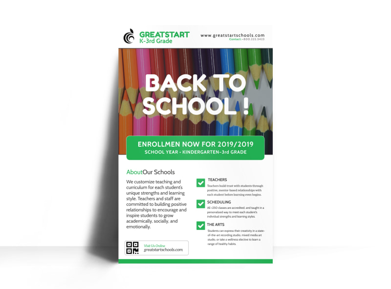 Back To School  Enrollment Poster Template