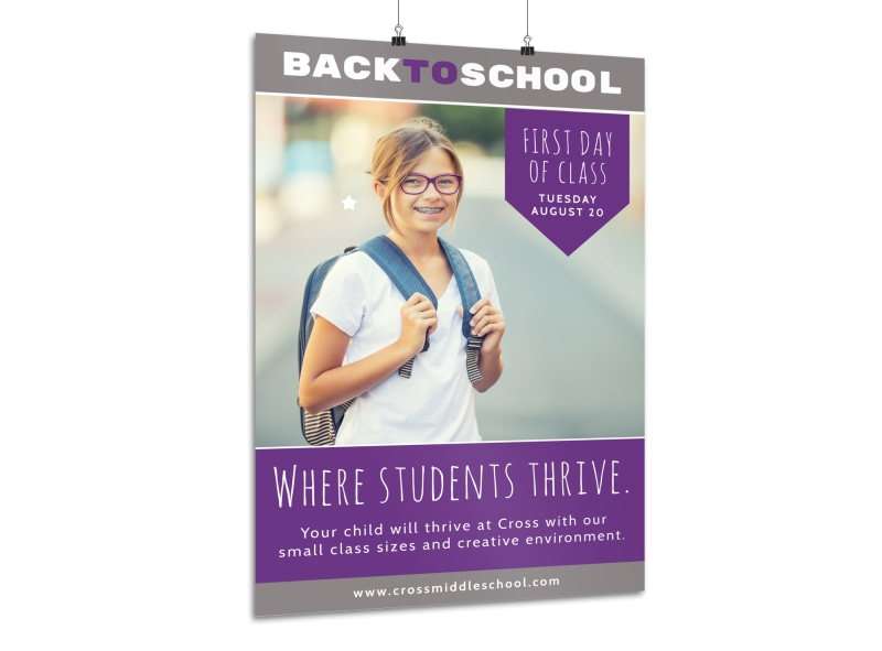 Purple Back To School Poster Template