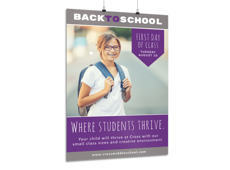 Purple Back To School Poster Template Preview 1