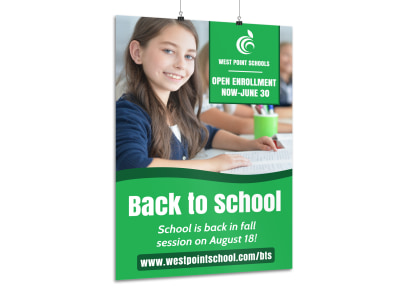 Green Back To School Poster Template