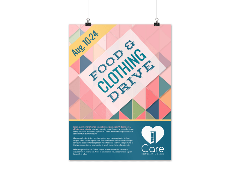 Food & Clothing Drive Poster Template Preview 1