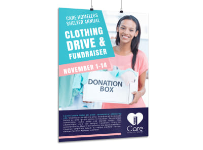 Clothing Drive Fundraiser Poster Template preview