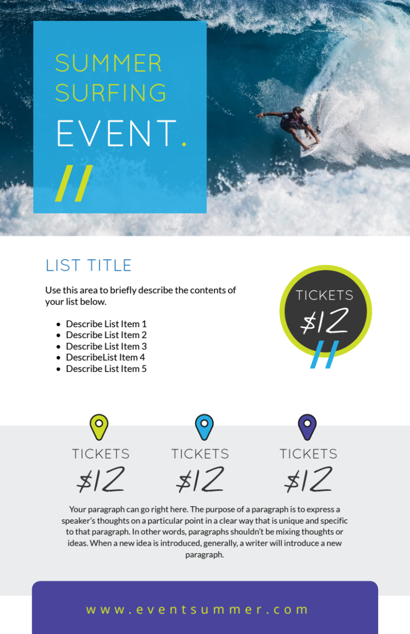 Surfing Event Flyer Template Preview 2