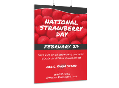 National Strawberry Day Poster Template preview