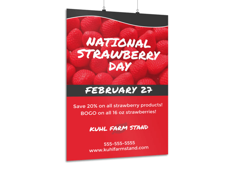 National Strawberry Day Poster Template