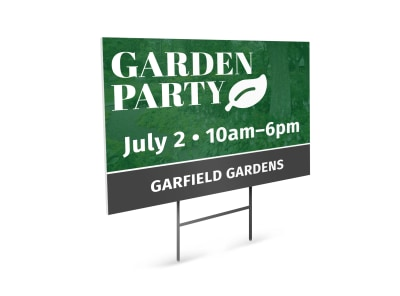 Garden Party Event Yard Sign Template preview