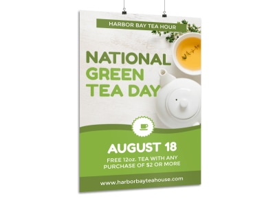 National Green Tea Day Poster Template