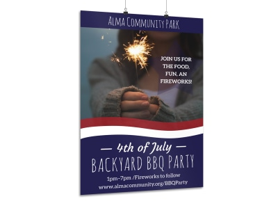 4th Of July Backyard BBQ Poster Template preview