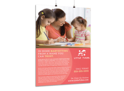Babysitting Outreach Poster Template preview