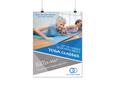 Yoga Fitness Class Poster Template preview