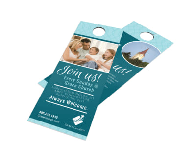 Church Join Us Door Hanger Template preview