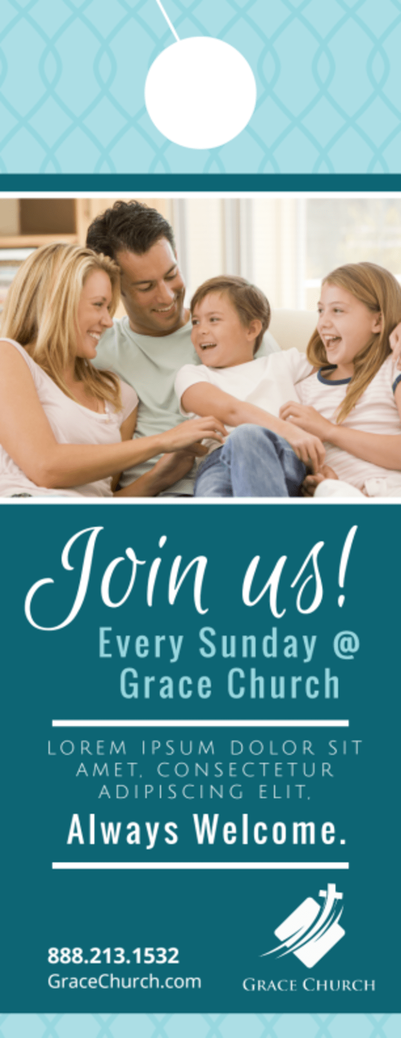 Church Join Us Door Hanger Template Preview 2