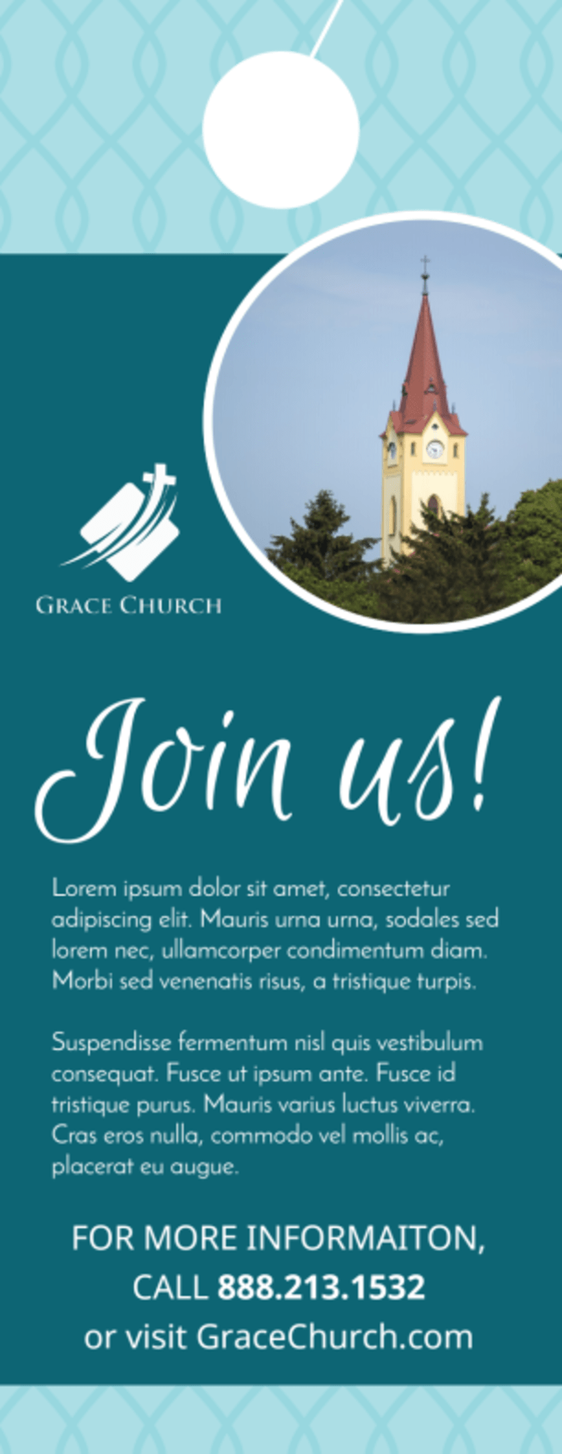Church Join Us Door Hanger Template Preview 3