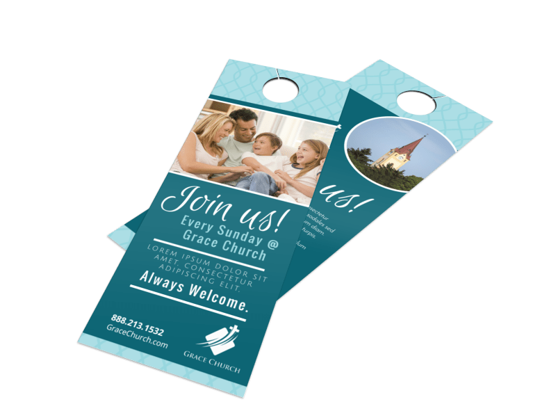 Church Join Us Door Hanger Template Preview 1