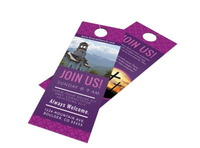 Join Us Church Door Hanger Template preview