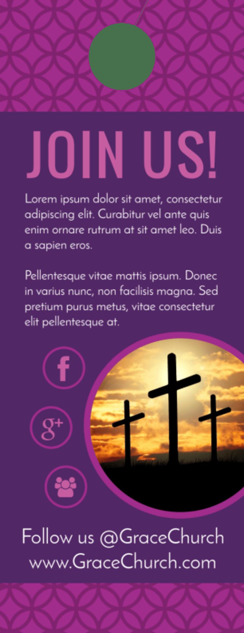 Join Us Church Door Hanger Template Preview 3