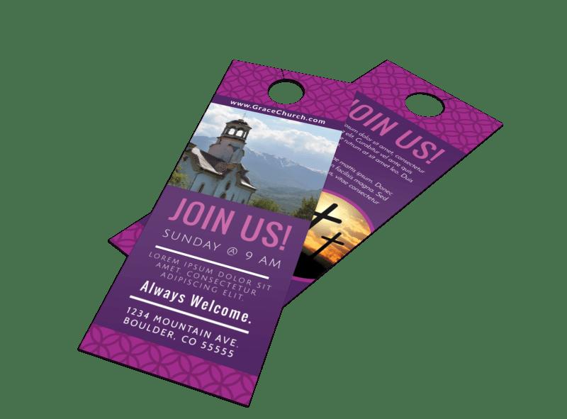 Join Us Church Door Hanger Template Preview 1