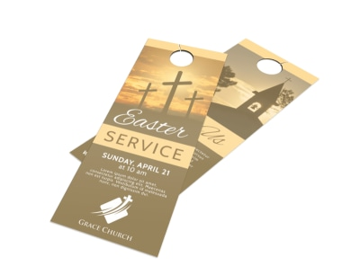 Church Easter Service Door Hanger Template preview