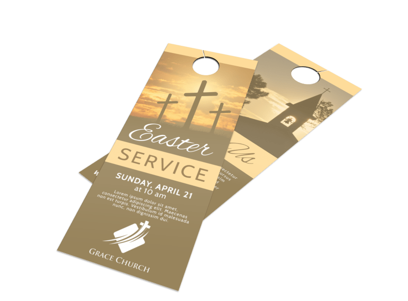 Church Easter Service Door Hanger Template Preview 1