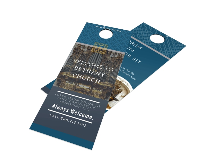 Classic Church Welcome Door Hanger Template Preview 4