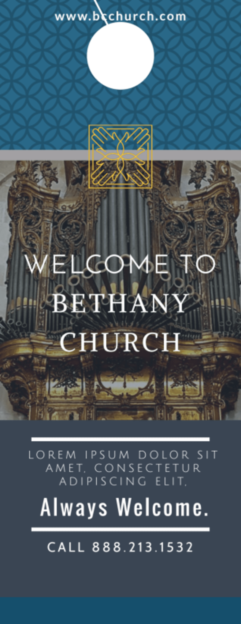 Classic Church Welcome Door Hanger Template Preview 2