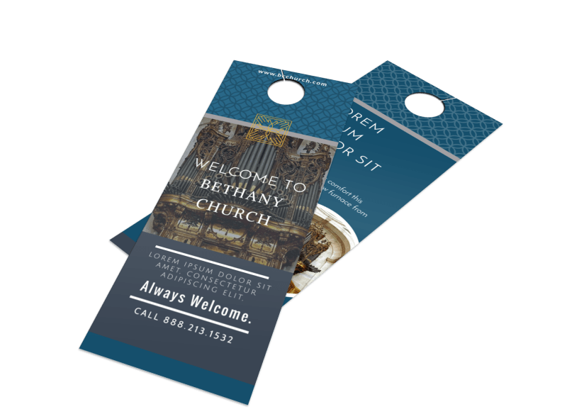 Classic Church Welcome Door Hanger Template Preview 1