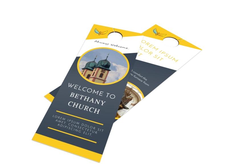 Beautiful Church Welcome Door Hanger Template