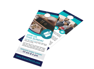 Church Sunday Service Door Hanger Template preview