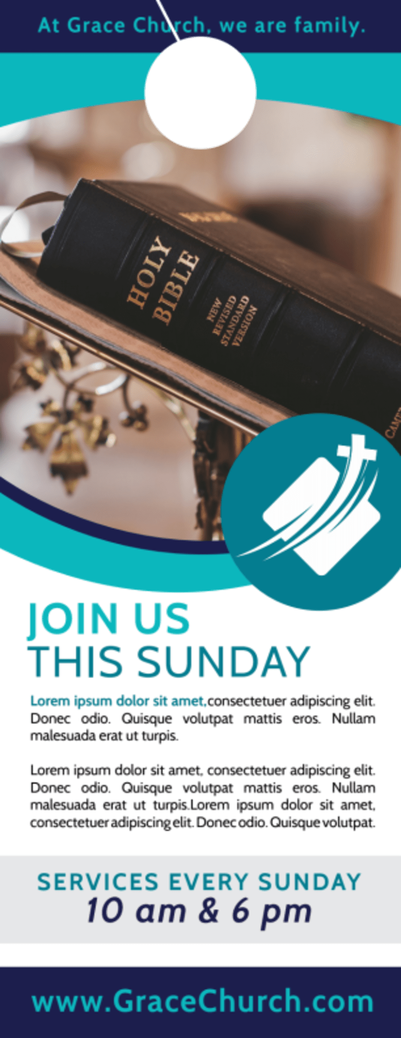 Church Sunday Service Door Hanger Template Preview 2