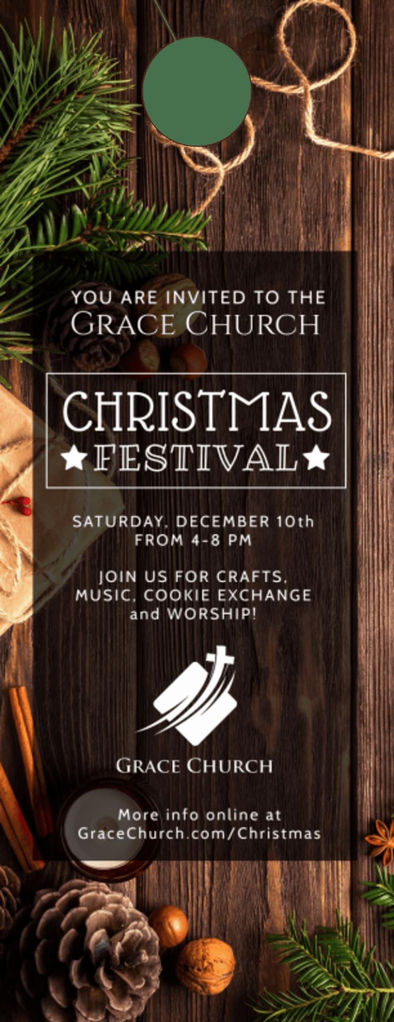 Church Christmas Festival Door Hanger Template Preview 2