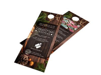 Church Christmas Festival Door Hanger Template preview