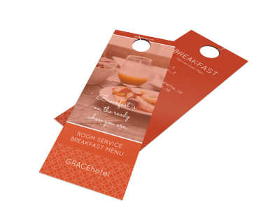 Bright Hotel Breakfast Menu Door Hanger Template preview