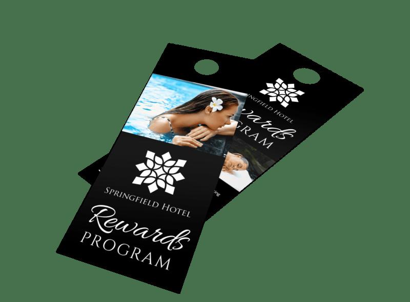 Black Rewards Program Door Hanger Template Preview 1