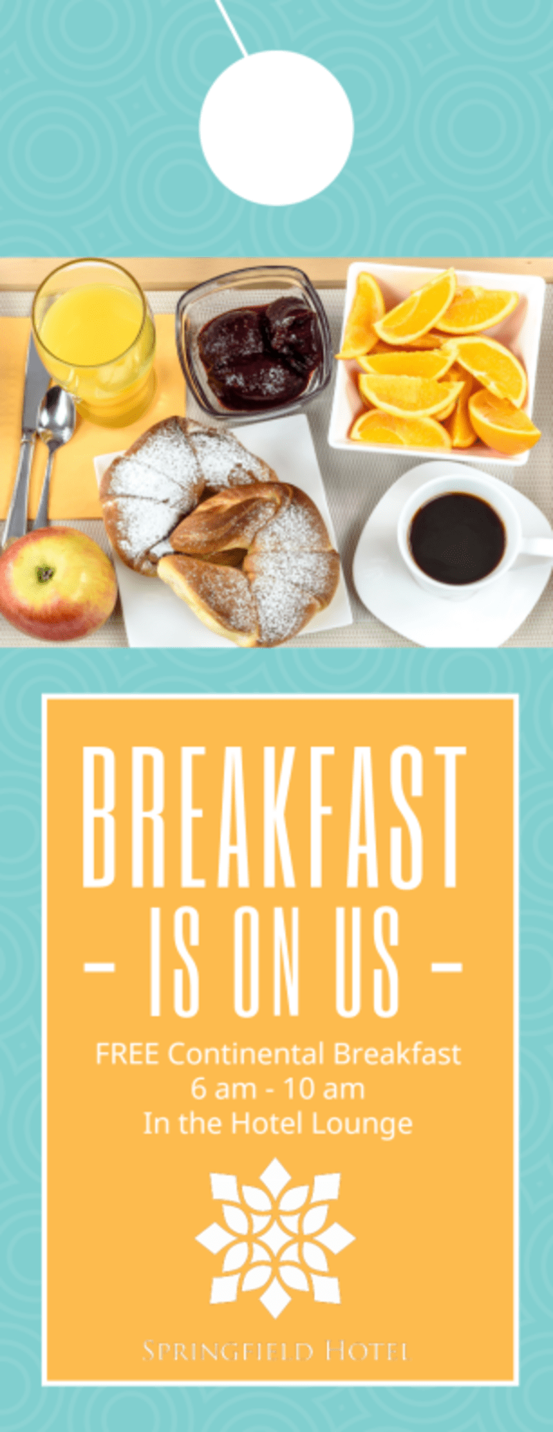 Hotel Breakfast Promo Door Hanger Template Preview 2