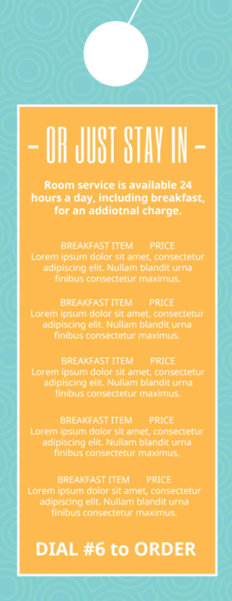 Hotel Breakfast Promo Door Hanger Template Preview 3
