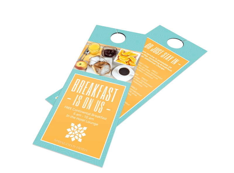 Hotel Breakfast Promo Door Hanger Template Preview 1