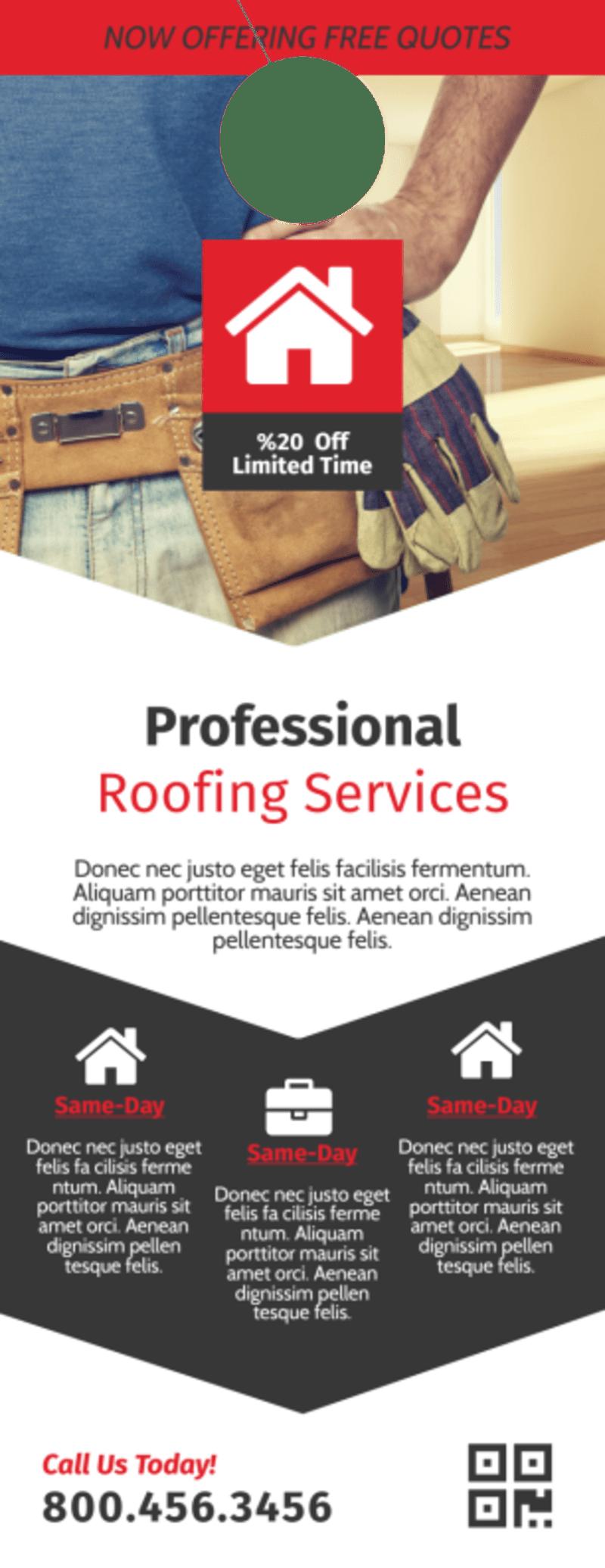 Modern Roofing Door Hanger Template Preview 2