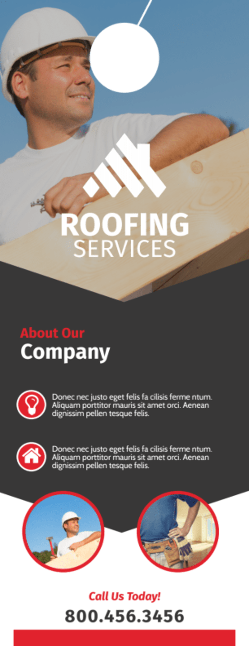 Modern Roofing Door Hanger Template Preview 3
