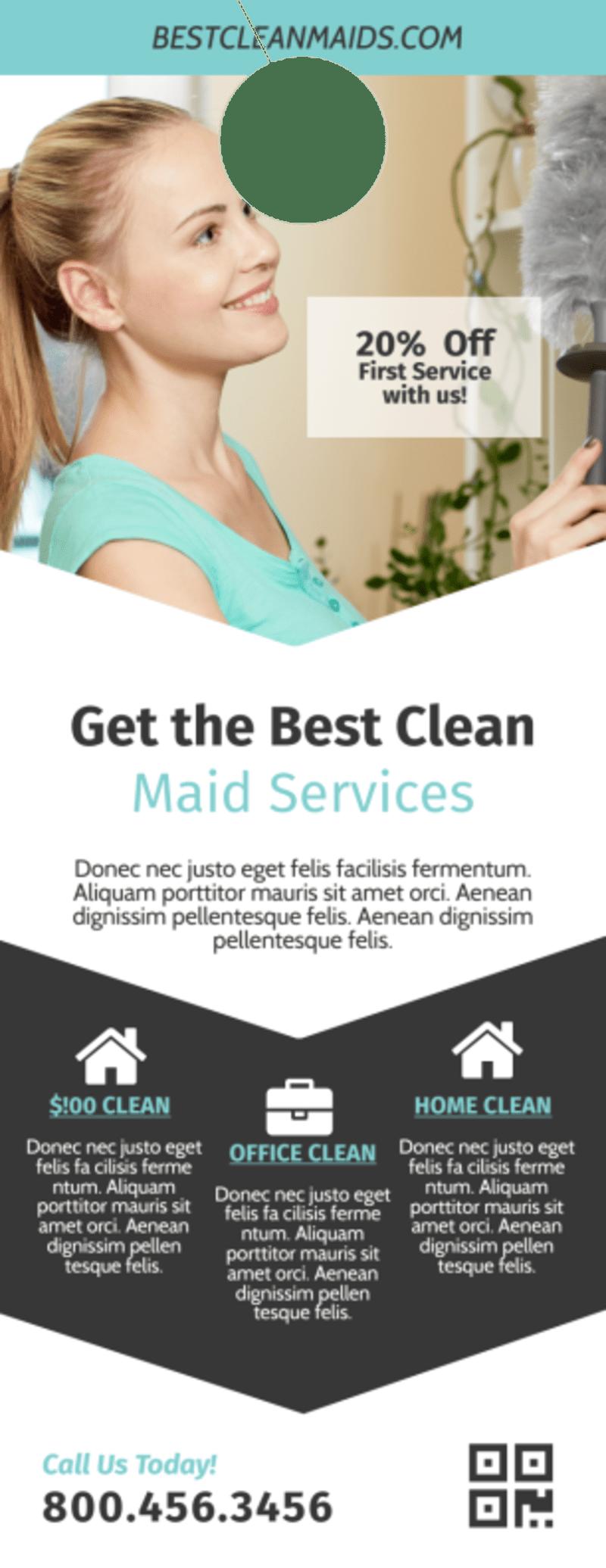 Clean Maid Service Door Hanger Template Preview 2