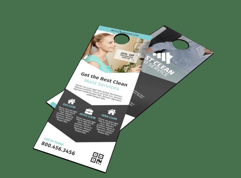 Clean Maid Service Door Hanger Template Preview 1