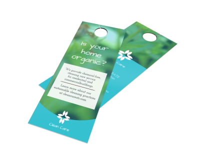 Organic House Cleaning Door Hanger Template preview