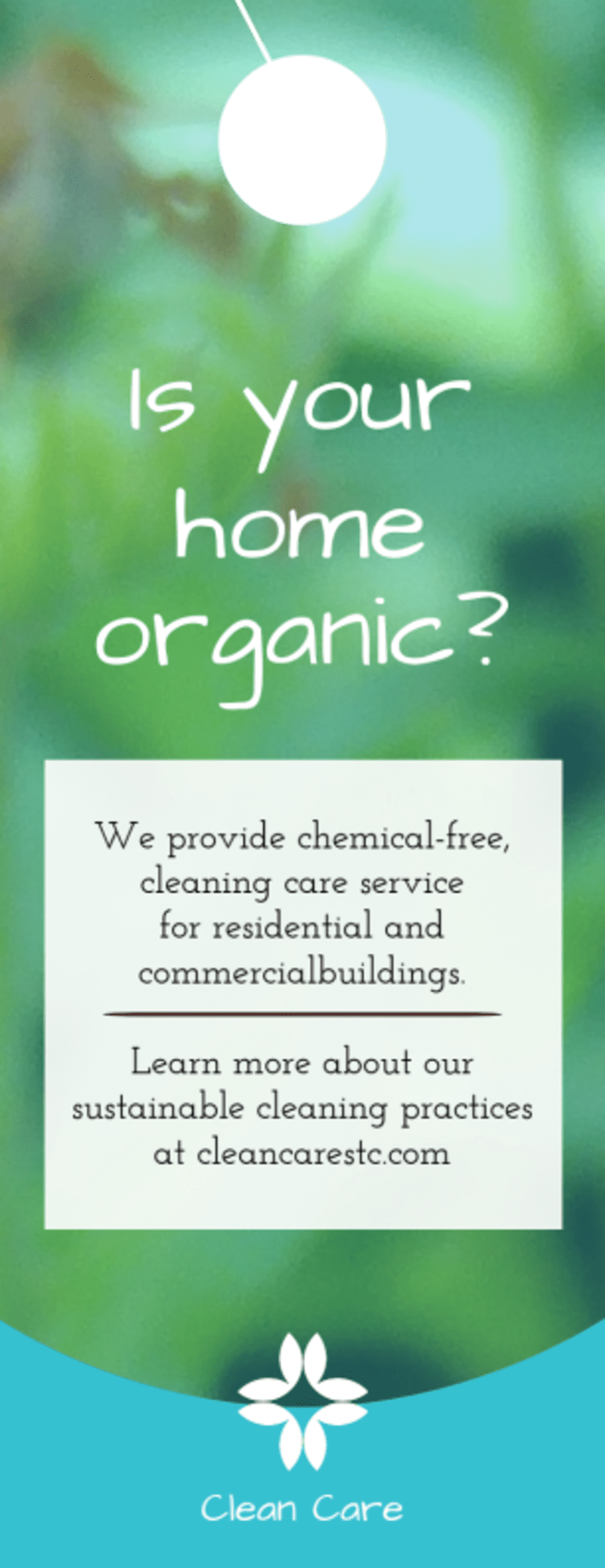 Organic House Cleaning Door Hanger Template Preview 2