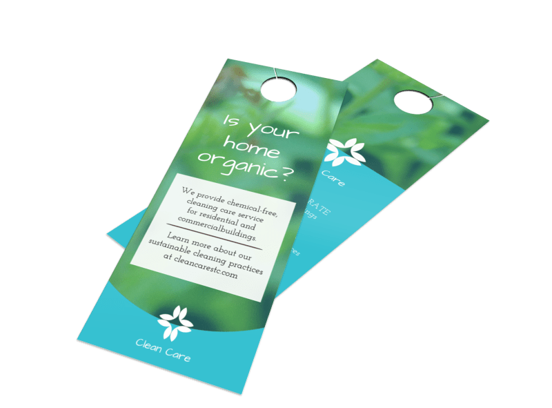 Organic House Cleaning Door Hanger Template Preview 1