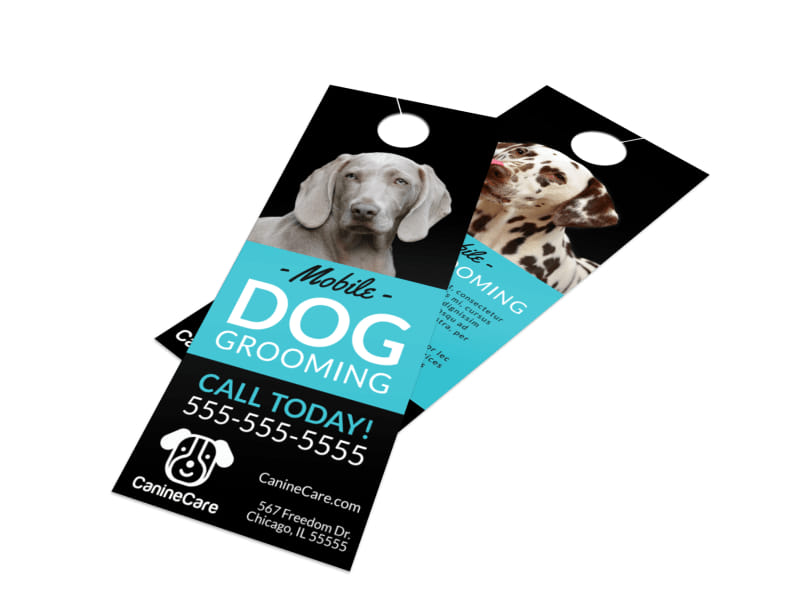Mobile Dog Grooming Door Hanger Template