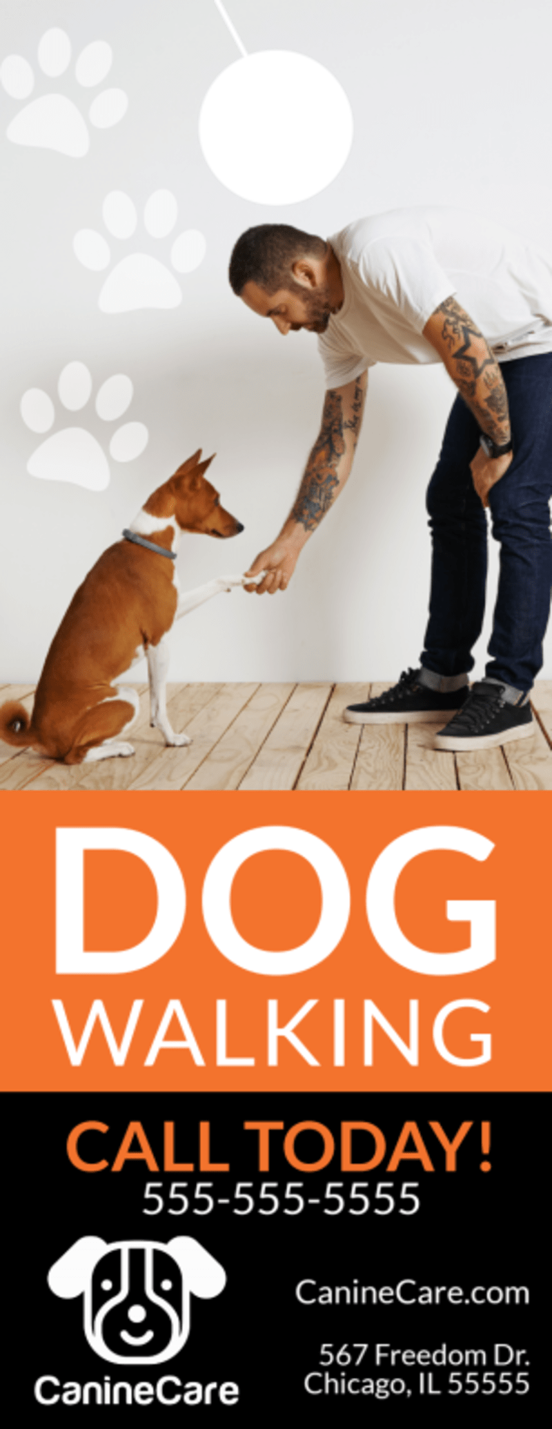 Pro Dog Walking Door Hanger Template Preview 2