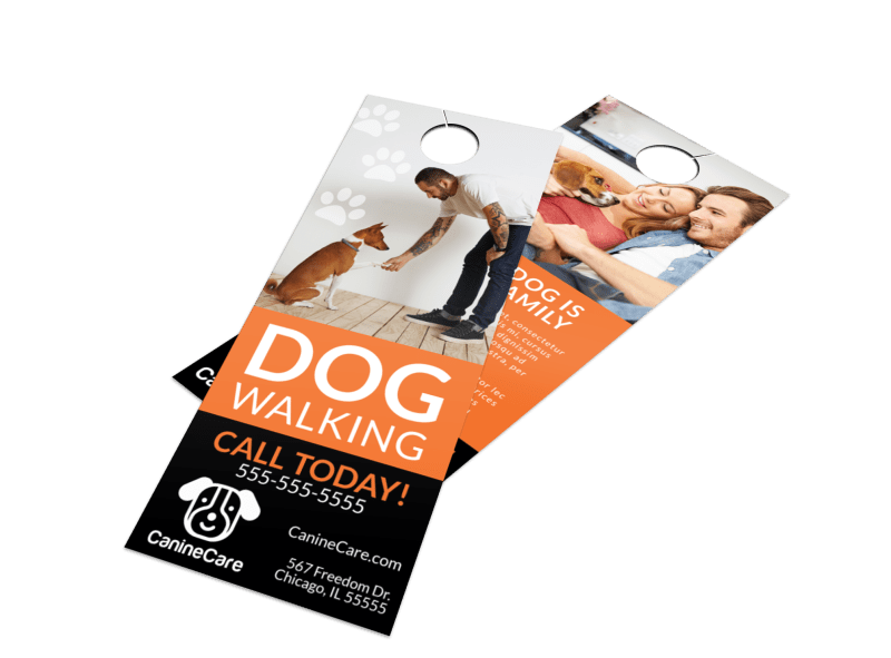 Pro Dog Walking Door Hanger Template Preview 1