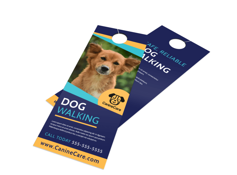 Beautiful Dog Walking Door Hanger Template Preview 1
