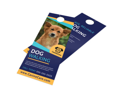 Beautiful Dog Walking Door Hanger Template